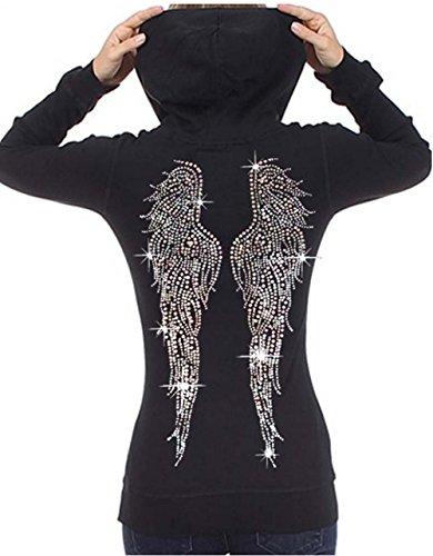 Juniors Huge Angel Wings Rhinestone Thermal Zipper Hoodie Black S-XL (S (Juniors), Black)