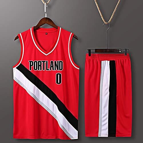 Camiseta De Baloncesto para Hombre Set Top+Shorts,Damian Lillard # 0 NBA Portland Trail Blazers,New Fabric Sports Jersey Camiseta Sin Mangas Fans Camisas,Rojo,XL