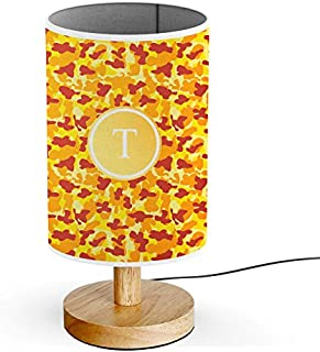 [ INITIAL LETTER T ] Monogram Name USB POWERED Wood Base Desk Table Bedside Lamp [ Fire Red Camouflage ]