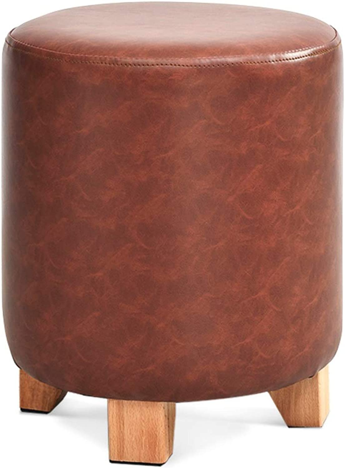 Pouffes and Footstools Home Cylindrical State Seat Low Stool Comfortable Soft PU Solid Wood, 3 colors ( color   Brown , Size   29x29x35cm )