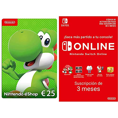 Nintendo eShop Tarjeta de regalo 25€ - (Código de descarga) + Nintendo Switch Online 3 Meses (Código de descarga)