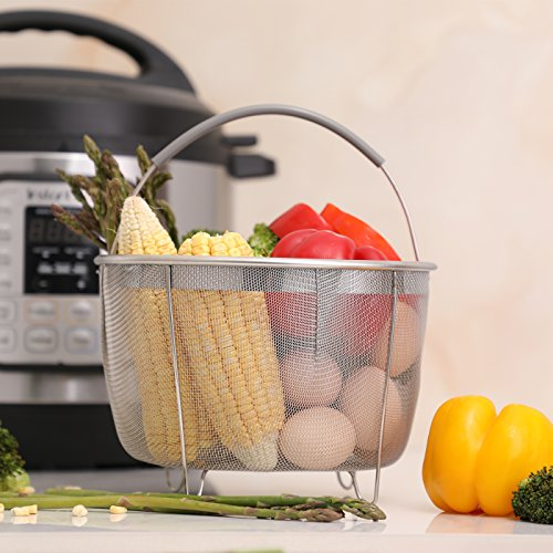 Aozita Steamer Basket for Instant Pot Accessories 8 Qt - Stainless Steel Steam Insert with Premium Silicone Handle for 8 Qt Pressure Cookers - Vegetables, Eggs, Meats, etc