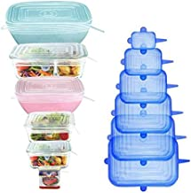 [12Pack] longzon 12pcs Silicone Stretch Lids Square, Reusable Durable Rectangular Food Storage Covers for Bowls, Cups, Can...