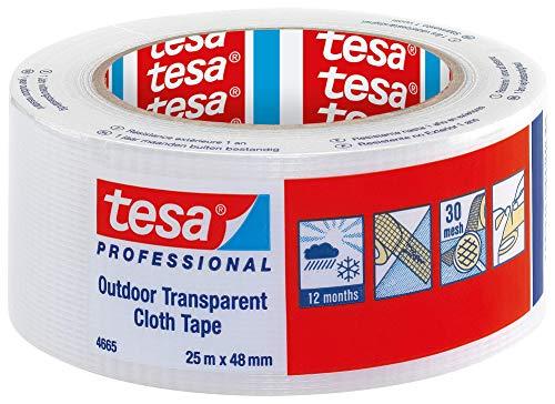 TESA 04665-00000-00 04665-00000-00-Cinta de tejido para Exteriores serie 4665-25m x 48mm Transparente, Not_applicable, No aplica