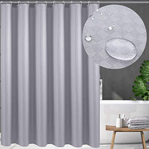 Swanson Duschvorhang in Silber Grau mit Duschringen. Antischimmel. Modern. Edel. 120/150/180/200 x 200 cm (200 x 200 cm)