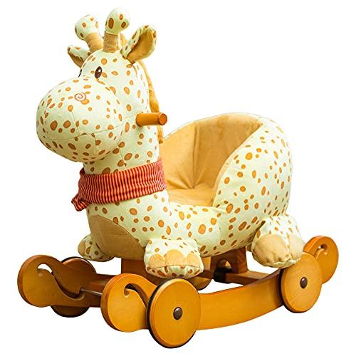 Labebe Child Rocking Horse Plush, Fawn Rocking Horse Stuffed, 2 in 1 Yellow Giraffe Rocker with Wheel for Kid 6-36 Months, Wooden Rocking Horse/Rocker/Animal Ride/Deer Rocker for Boy&Girl