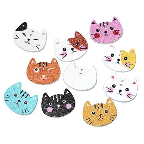 SiAura Material - 100 botones de madera para scrapbooking de gato, 20 mm x 16 mm, mezclados al azar, 2 agujeros, para costura, manualidades y decoración.
