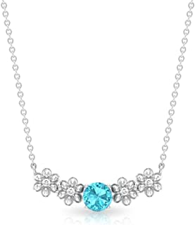 0.61 Carat Solitaire Certified Blue Topaz Swiss Diamond Flower Pendant,Vintage Gold Chain Engraved Floral Women Necklace,A...