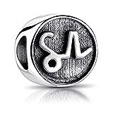 MATERIA Sternzeichen Steinbock Anhänger Silber 925 - Beads Perle Charms für Armband oder Kette antik schwarz #558