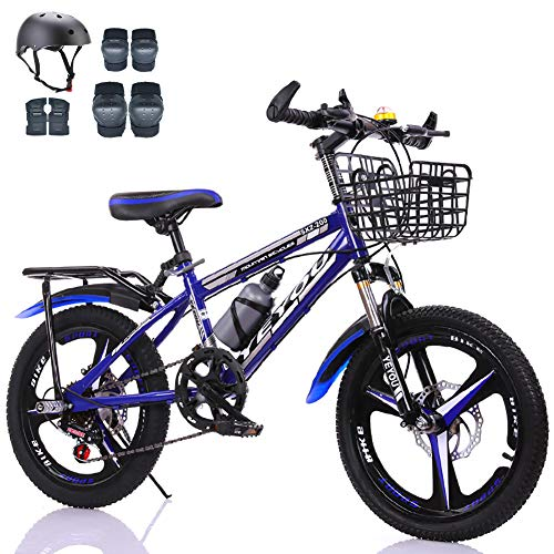 LINGYUN 18-inch Kids Mountain Bike for Outdoor Sports, Youth Commuter Bicycles for 115-145CM Crowd, with Double Disc Brakes and Shock-Absorbing Front Fork