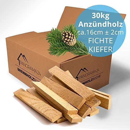 30kg Anzündholz Anfeuerholz Anmachholz Brennholz Kaminholz Ofenholz Smoker Grill BBQ Trocken Ofenfertig Fichte/Kiefer 16cm