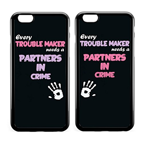 Couple Case,BFF Best Friends Every Blonde Needs a Brunette Every Trouble Makes Needs A Partner in Crime Cute Sister Funny Matching Thing Cases for Girls Teens Kids for iPhone 7 Plus/iPhone 8 Plus