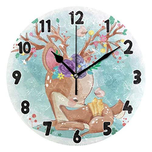 Zseeda Nette Elch Milu Hirsch Uhr Schmetterling Blumen Badezimmer Wanduhr für Jungen Mädchen Silent Non Ticking Dekorative Runde Uhr 2040736
