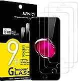 NEW'C 3 Unidades, Protector de Pantalla para iPhone 7 y iPhone 8, (4.7'), Antiarañazos, Antihuellas, Sin Burbujas, 9H, 0.33 mm, Vidrio Templado Ultra Resistent y Transparente