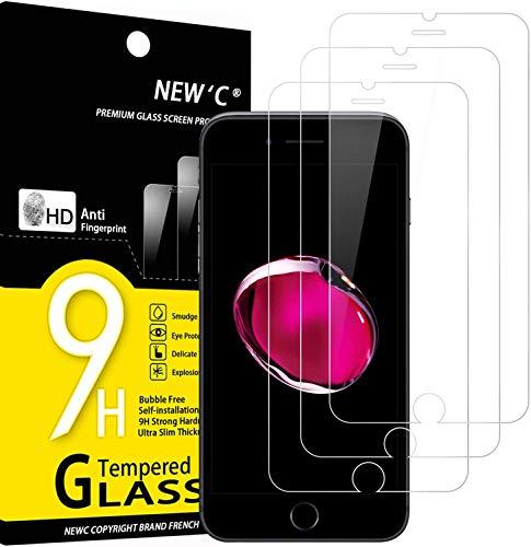 NEW'C 3 Pezzi, Vetro Temperato Compatibile con iPhone 7 e iPhone 8 (4.7'), Pellicola Prottetiva Anti Graffio, Anti-Impronte, Durezza 9H, 0,33mm Ultra Trasparente, Ultra Resistente