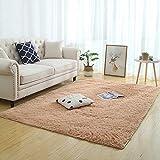 JINGMIAO Alfombra suave y sedosa, moderna, decoración del hogar, larga felpa, alfombra para niños, sofá, salón, dormitorio, mesita de noche, alfombra para balcón