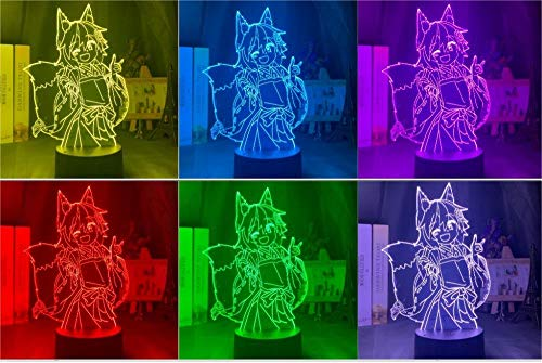 3D Night Light 3D Lamp The Helpful Fox Senko San Figure Nightlight Color Changing USB Battery Night Light for Girls Bedroom Decor Light YOUTH002