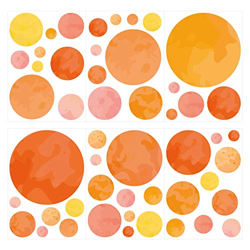 dekodino Adesivo murale cerchi giallo arancione 50 pezzi vivaismo
