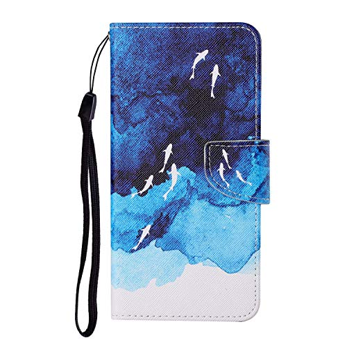 JZ Painted Design Wallet Funda For para Xiaomi Mi 10 Lite 5G Flip Cover with [Stand][Wrist Strap] - Whale