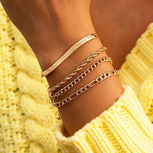 PangTuZiYin 2021 Vintage Oro Plata Color Serpiente Cadena de Cuerda de Metal Pulsera de Moda para Mujer Boho múltiples Capas Conjunto de Pulsera joyería
