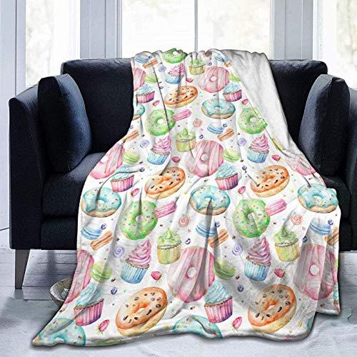 Manta de Tiro de 60 'x 50', Cupcakes, donas, Muffins, Manta de Cama Suave con Estampado de azúcar, Manta de Microfibra cálida para Viajes, Cama, sofá, Oficina, Todas Las Estaciones