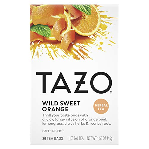 Tazo Herbal Tea Tea Bags For a Citrus Beverage Wild Sweet Orange Caffeine-Free 20 Tea Bags 6 ct