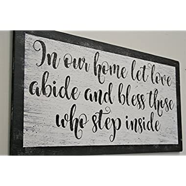 In Our Home Let Love Abide Wood Sign