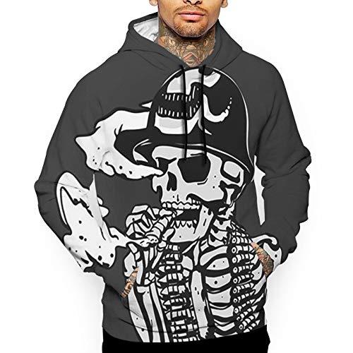 Patriotic Military Army Skeleton Illustration Soldier Skull Men's Outdoor Hooded Sweatshirt Thermal Winterwear Pullover White