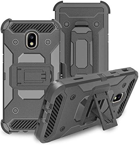 Galaxy J3 Orbit Case/J3 Star/J3 2018/J3 Achieve/J3v 3rd Gen/Express Prime 3/Amp Prime Case Holster Belt Clip [Tempered Glass] Shock Proof Phone Case Cover Compatible for Samsung J3 Orbit Cases - Black