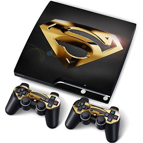 PS3 Slim Designfolie Sticker Skin Set für Konsole 2 Controller by Funky (Gold Superman)