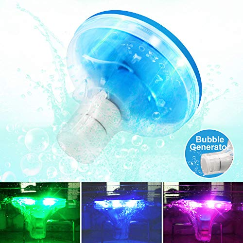 LPHSNR Bubble Generator LED Lights Pool Bathtub Floating, Lifetime Replacement 5 Color Chaning Baby Toddlers Light up Bath Toys Waterproof, Hot Tub Disco Pool Party Decoration