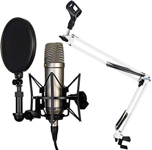 Rode NT1-A - Juego de micrófono condensador + keepdrum NB35 WH blanco brazo articulado trípode de mesa blanco