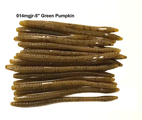 20 Pcs 5' Drop Shot Finesse Worms (Green Pumpkin) Scented,Soft Plastic Worms, Bass Fishing Worms, Soft Plastic Baits