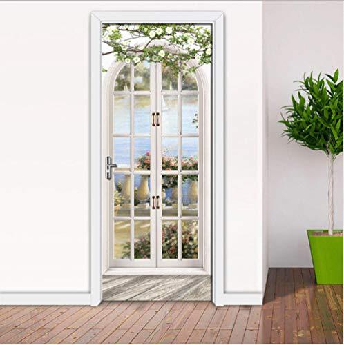 OHEHE Türfoto 3D Effekt Landschaft vor dem Fenster Türtapeten Wasserdicht Türposter Selbstklebend Abnehmbar Fototapete Schlafzimmer Wohnzimmer Wohnkultur PVC 77x200cm