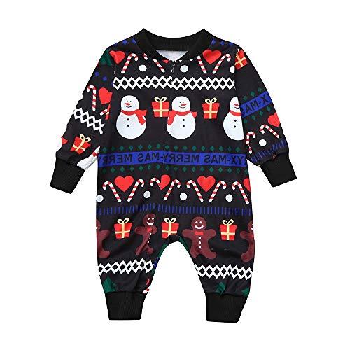 OverDose Damen Frohe Weihnachten Kleinkind Baby Langen Ärmeln Cartoon Schneemann Print Strampler Familie Party Weiche Geschenk Kleidung(Schwarz,18-24 Monate)