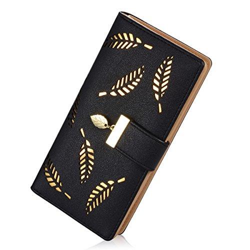 レディースロングリーフ二つ折り財布 レザーカードホルダー財布 ジッパーバックルエレガント クラッチウォレット ハンドバッグ One Size ブラック