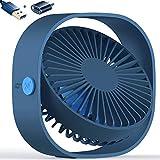 AmuseNd USB Desk Fan, USB Power Desktop Fan Ultra-Quiet Third Gear Speed 4inch Portable Mini Fan for Bedroom Office Desktop (Blue)