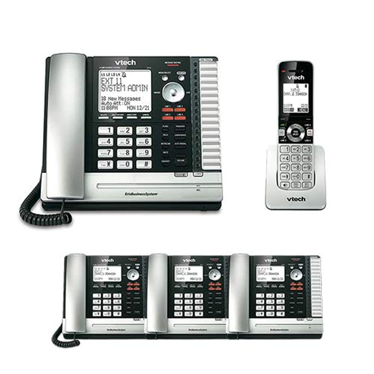 VTech UP416 Office Bundle Corded Phone System with (3) UP406 Corded Extension Deskset and UP407 Cordless Handset