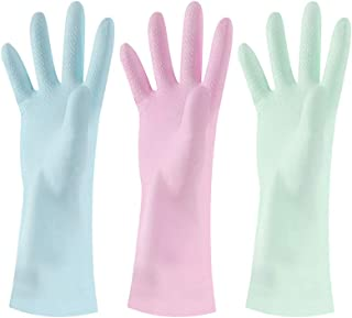 3 Pairs Macaroon Cleaning Gloves Waterproof Reusable Rubber Cleaning Gloves Household Latex Cleaning Gloves Household Kitchen Dish-Washing Gloves for Kitchen Home Garden