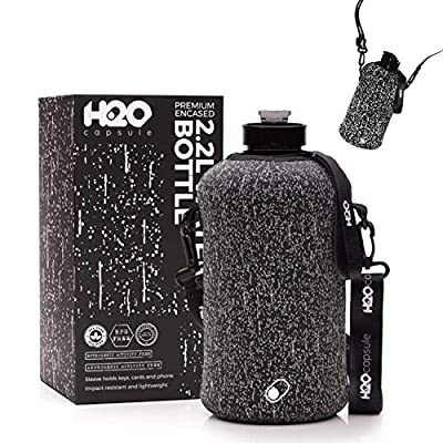 H2O Capsule 2.2L Half Gallon Water Bottle with Storage Sleeve – Tritan BPA Free Large Water Bottle/2.2 Liter (74 Ounce) Big Sports Bottle Jug with Handle (Cosmic Rain)