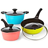 Cook N Home 02456 6 Piece Nonstick Ceramic Coating Die Cast Cookware Set, Multicolor