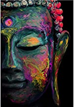 Faicai Art Buddha Wall Art Prints Colorful Buddha Face Canvas Paintings Red Purple Blue Yellow HD Printed Buddhist Thai Oil Paintings Abstract Home Decor Living Room Wall Decor Wooden Framed 32