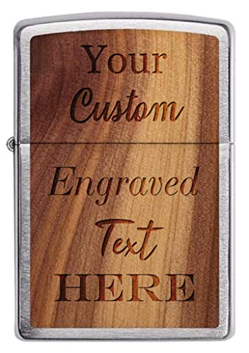 Zippo Customized Engraved Lighter - Personalized Custom Laser Engraving Woodchuck USA Cedar on Brush Chrome Great Gift for Weddings, Groomsman, (Double Sided Text Only)