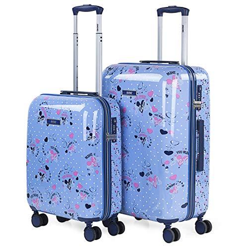 SKPAT - Set de Dos Maletas de Viaje rígidas Decoradas tamaño 50/60 Fabricadas con policarbonato, un Material y Cierre TSA 131400, Color Azul