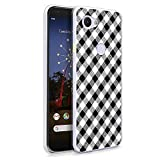 HELLO GIFTIFY Phone Case Compatible with Google Pixel 3a (5.6 inch 2019) Clear Soft TPU Gel Protective Rubber Cover, Black and White Plaid Pattern Designed