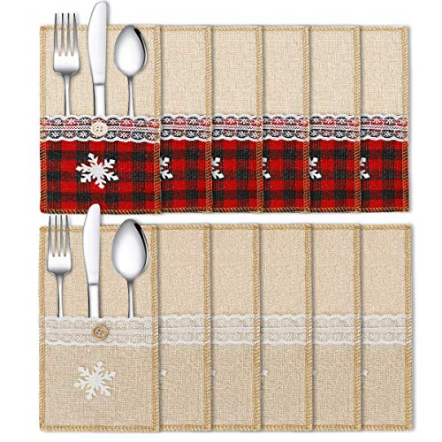 Townshine Christmas Burlap Lace Utensil Cutlery Holders Pouch Bags, Buffalo Check Plaid Xmas Tableware Decor Set Dinner Table Supplies 12 Pack