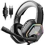 ゲーミングヘッドセット 7.1chサラウンドサウンドPC用ヘッドセット US接続 高集音マイク付き RGB ライト PC/PS4 OS対応 ゲームヘッドセット ブラック/グレー