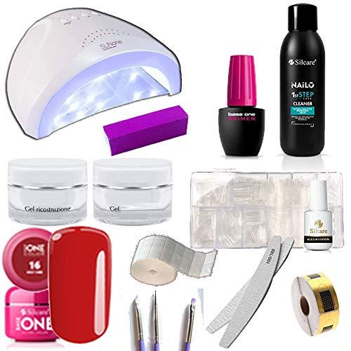 Kit Ricostruzione unghie gel monofase con lampada, gel, liquidi e accessori