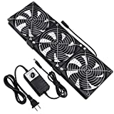 Wathai Dual Ball 3 x 120mm DC 12V Big Airflow Fan with 110V - 240V AC Speed Controller for DIY Cabinet Chassis Machine Server Workstation Cooling
