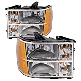 HEADLIGHTSDEPOT Chrome Housing Halogen Headlights Compatible with GMC Sierra 1500 Hybrid 2500 3500 HD Includes Left Driver and Right Passenger Side Headlamps